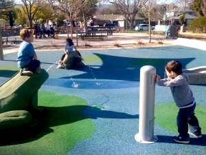 Kids playing on new equipment