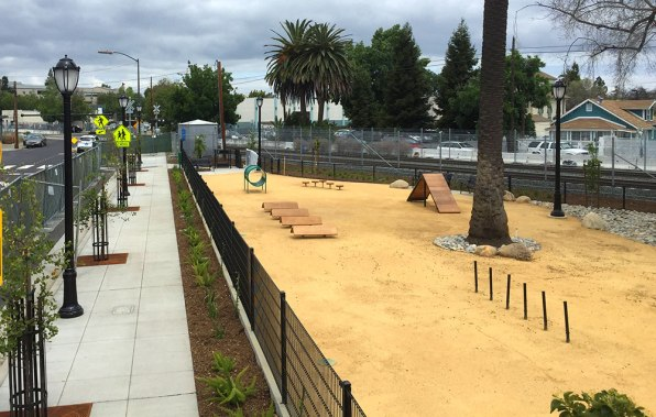 View of the new main street dog park and sidewalk